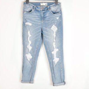 Garage Distressed Mom Jeans Light Wash Mid Rise